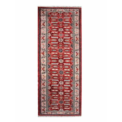 Corrin Hand-Knotted Red/Cream Area Rug Rug Size: Runner 26 x 10