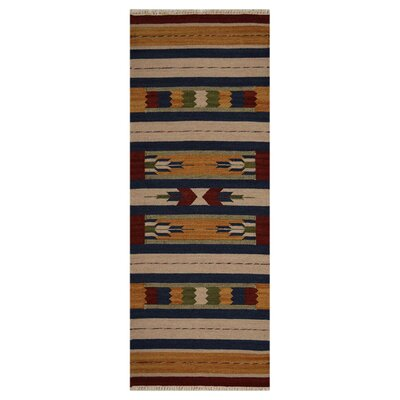 Clairan Hand-Woven Wool Brown/Blue Area Rug Rug Size: Runner 26 x 6