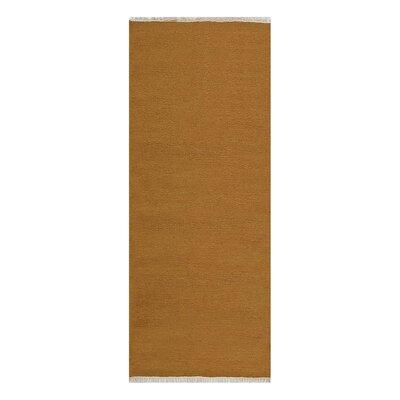 Creasman Hand-Woven Wool Gold Area Rug Rug Size: Runner 26 x 10