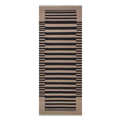 Reynosa Hand-Woven Wool Cream/Charcoal Area Rug Rug Size: Runner 26 x 12
