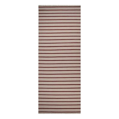 Donora Hand-Woven Cream/Red Area Rug Rug Size: Runner 3 x 13