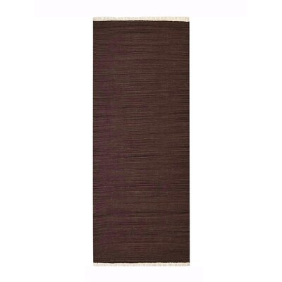 Cottesmore Hand-Woven Wool Dark Brown Area Rug Rug Size: Runner 26 x 12