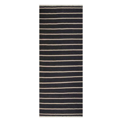 Reyes Hand-Woven Wool Charcoal/Cream Area Rug Rug Size: Runner 26 x 10