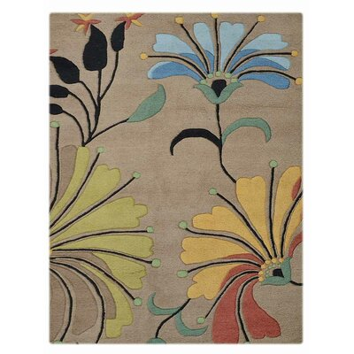 Markowitz Floral Hand Tufted Wool Camel Area Rug Size: Rectangle 4 x 6