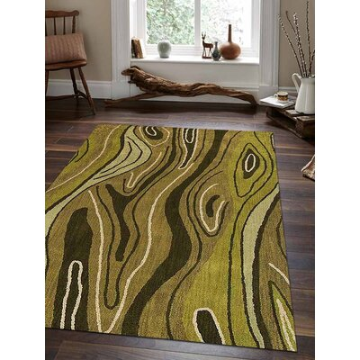 Predmore Abstract Hand-Tufted Wool Green Area Rug Rug Size: Rectangle 9 x 12
