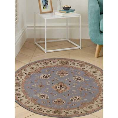 Thor Vintage Hand-Tufted Wool Blue/Cream Area Rug Rug Size: Round 5