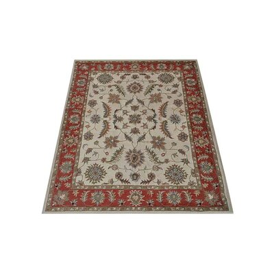 Thor Vintage Hand-Tufted Wool Beige/Red Area Rug Rug size: Rectangle 9 x 12