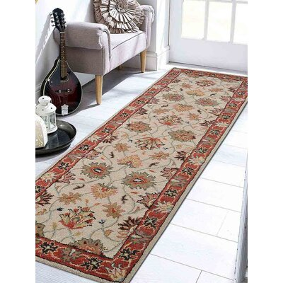 Thor Vintage Hand-Tufted Wool Cream/Red Area Rug Rug Size: Runner 26 x 8