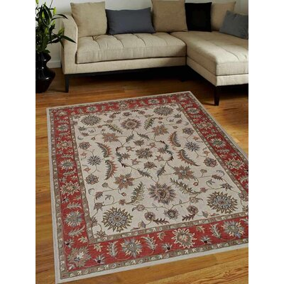 Thor Vintage Hand-Tufted Wool Beige/Red Area Rug Rug size: Rectangle 10 x 13