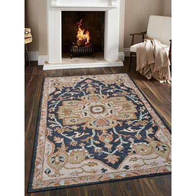 Natacha Vintage Hand-Tufted Wool Charcoal/Beige Area Rug Rug Size: Rectangle 5 x 8