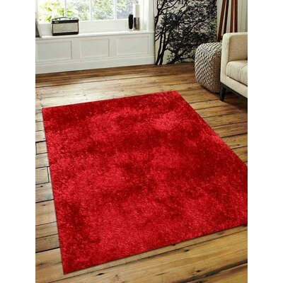 Predmore Hand-Tufted Red Area Rug Rug Size: Rectangle 5 x 8