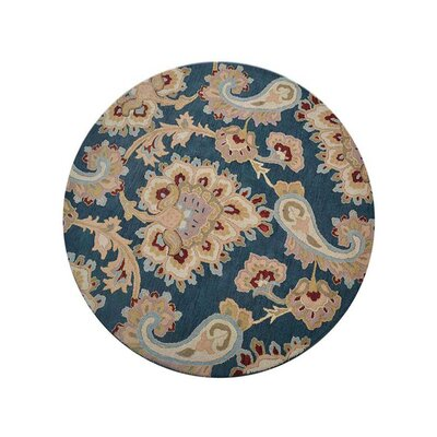 Natacha Floral Hand-Tufted Wool Blue/Beige Area Rug Rug Size: Round 8 x 8