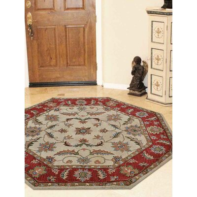 Thor Vintage Hand-Tufted Wool Beige/Red Area Rug Rug size: Octagon 6