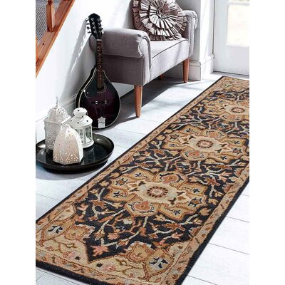 Natacha Vintage Hand-Tufted Wool Charcoal/Beige Area Rug Rug Size: Runner 26 x 8