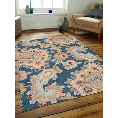 Natacha Floral Hand-Tufted Wool Blue/Beige Area Rug Rug Size: Rectangle 9 x 12