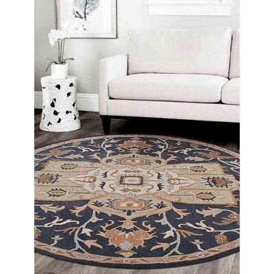 Natacha Vintage Hand-Tufted Wool Charcoal/Beige Area Rug Rug Size: Round 8 x 8