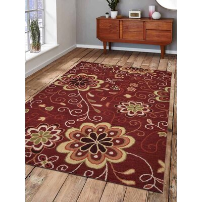 Thor Floral Hand-Tufted Wool Red Area Rug Rug Size: Rectangle 5 x 8