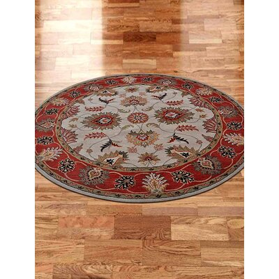 Thor Vintage Hand-Tufted Wool Beige/Red Area Rug Rug size: Round 10