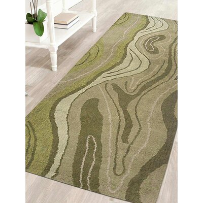 Predmore Abstract Hand-Tufted Wool Green Area Rug Rug Size: Runner 26 x 10