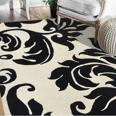 Mcalpine Floral Hand Tufted Wool Cream Area Rug Size: Rectangle 8 x 10