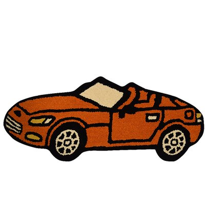 Glenpool Kids Novelty Car Hand-Tufted Wool Orange Area Rug