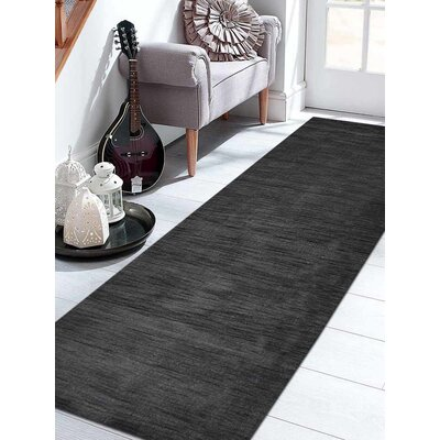 Delano Solid Hand-Woven Wool Charcoal Area Rug Rug Size: Runner 26 x 10