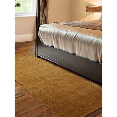 Ceniceros Solid Hand-Woven Wool Gold Area Rug Rug Size: Runner 26 x 10