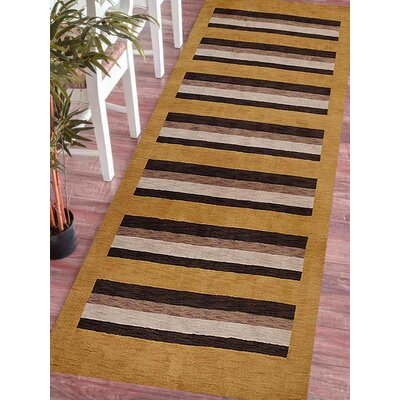 Ceniceros Striped Hand-Woven Wool Gold/Brown Area Rug Rug Size: Runner�26 x 10