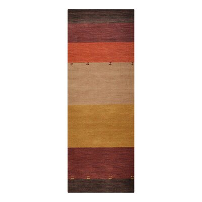 Manns Hand-Woven Wool Yellow/Red Area Rug