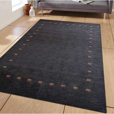 Ceniceros Solid Hand-Woven Rectangle Wool Charcoal Area Rug Rug Size: Rectangle 9 x 12