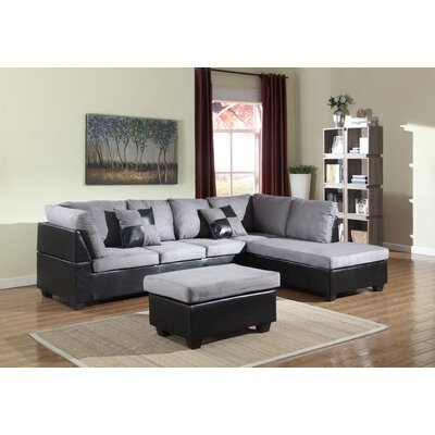 Soloman Sectional Upholstery: Gray/Black