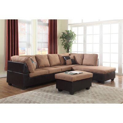 Soloman Left-Hand Facing Sectional Upholstery: Tan/Mocha