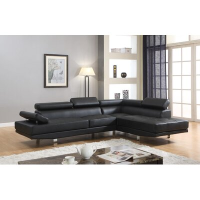 Stella Reclining Sectional Upholstery: Black