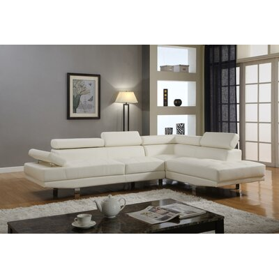Stella Reclining Sectional Upholstery: White