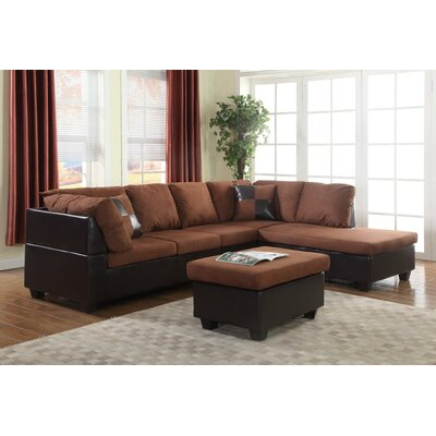 Soloman Sectional Upholstery: Chocolate/Mocha