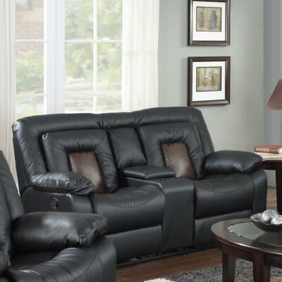 Alice Reclining Loveseat Upholstery: Black