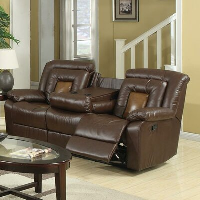 Alice Reclining Sofa Upholstery: Brown