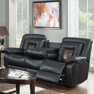 Alice Reclining Sofa Upholstery: Black