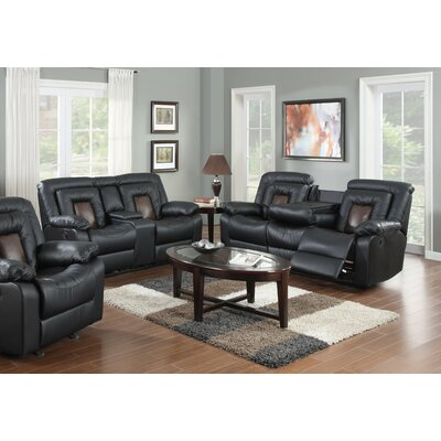 Alice 2 Piece Living Room Set Upholstery: Black