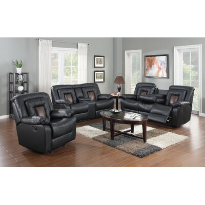 Alice 3 Piece Leather Living Room Set Upholstery: Black