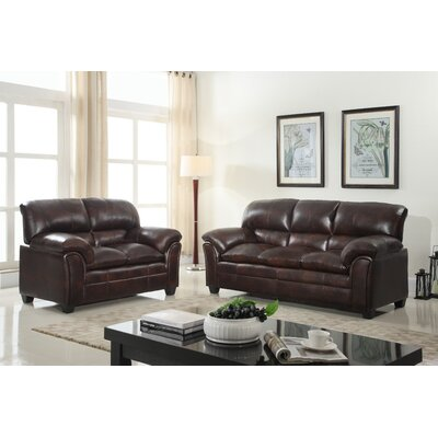 Mikaela Pillowtop Sofa and Loveseat Set Upholstery: Mahogany