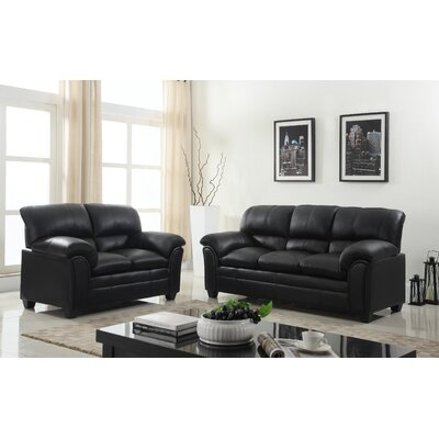 Mikaela Pillowtop Sofa and Loveseat Set Upholstery: Black