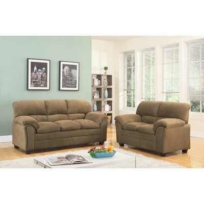 Mikaela Cushion Back Sofa and Loveseat Set Upholstery: Tan