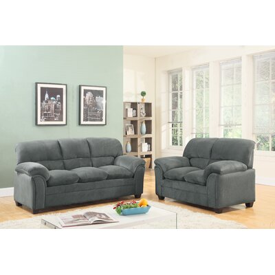 Mikaela Cushion Back Sofa and Loveseat Set Upholstery: Hazel