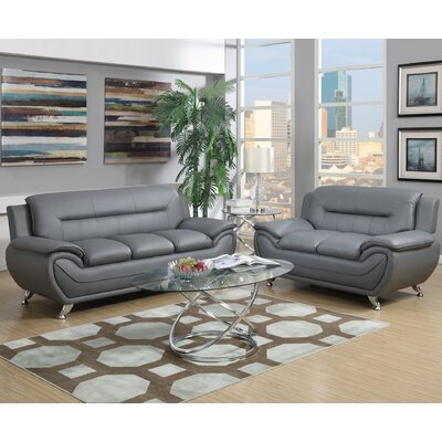 Charlisa Sofa and Loveseat Set Upholstery: Gray