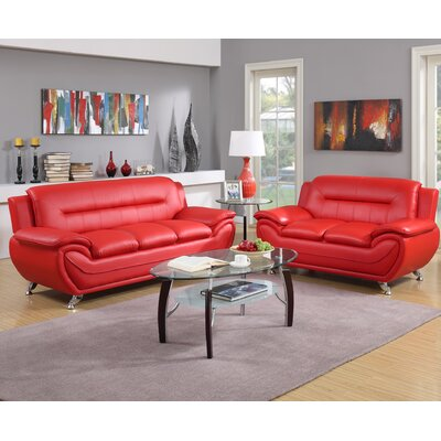 Hawking 2 Piece Living Room Set Upholstery: Red
