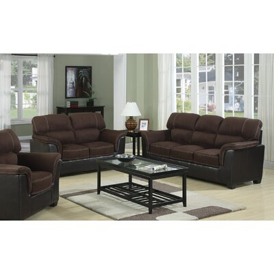 Margo Sofa and Loveseat Set Upholstery: Chocolate
