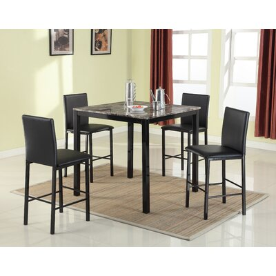 Ariandne Faux Marble 5 Piece Counter Height Dining Set Table Finish: Black