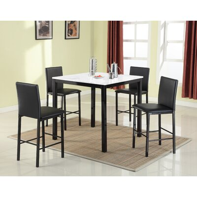 Ariandne Faux Marble 5 Piece Counter Height Dining Set Table Finish: White