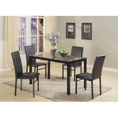 Jessee Faux Marble 5 Piece Dining Set Table Finish: Black